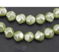 40 x 10mm Light Green Hexagon Shaped Glass Pearl Beads